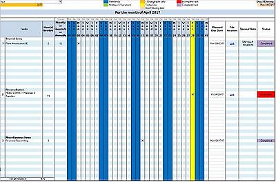 Accounting and Business Automated Microsoft Excel Work Task Management Calendar