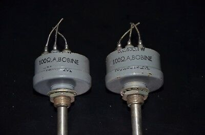 Two 2 Nos Variohm Vintage Wire Wound Potentiometers 100 Ohm Hermetic Sealed