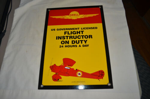 PORCELAIN SIGN - SHELL - FLIGHT INSTRUCTOR ON DUTY - REPRODUCTION