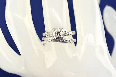 Estate Old Mine Art Deco Diamond Engagement Ring And Wedding Band Set. Size