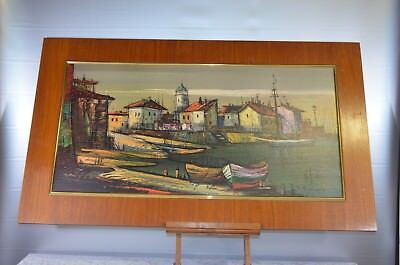 ANTIQUE REPRODUCTION BOATS PAINTING PAINTING OIL ON CANVAS FRAME