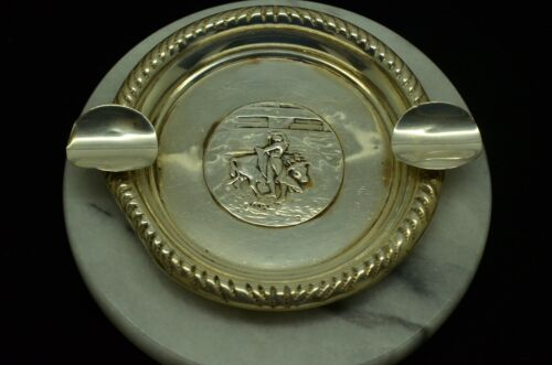 925 STERLING SILVER ROUND ASH TRAY W/ RODEO BULL RIDER DESIGN #S4-013