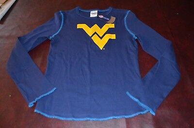 Nwt Wvu West Virginia Mountaineers Womens Blue Long Sleeve Shirt 100  Cotton