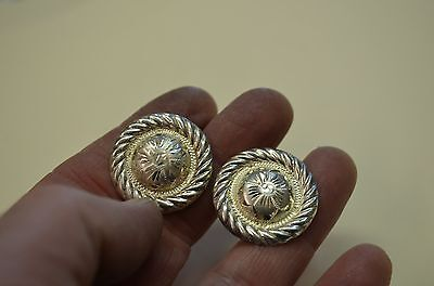 2 Mini Domed STERLING SILVER Hibiscus Floral Engraved DECORATIVE CONCHOS 1 1/8""