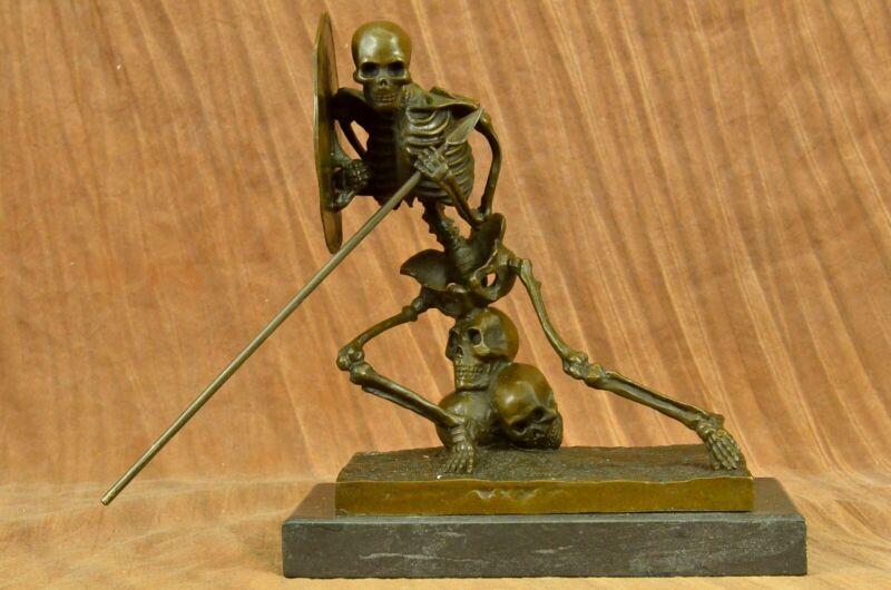 100% Solid Bronze Statue Skull Skeleton Warrior sculpture Figure Sale Art Figure