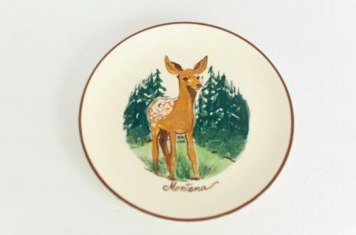 VINTAGE RARE Collectors Plate Montana Souvenir, Handpainted Deer Fawn Forest Art