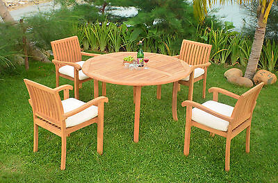 5 PC DINING TEAK SET GARDEN OUTDOOR PATIO FURNITURE POOL NAPA ARM DECK CHAIRS NW