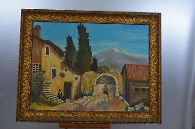 ANTIQUE PAINTING CANVAS SIGN PAINTING OIL FRAME WOOD