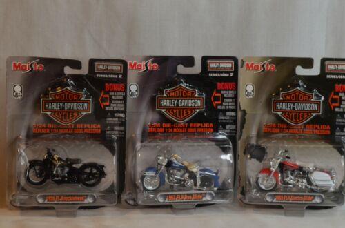 3 Maisto Harley-Davidson 1:24 Motorcycles 1962 & 1968 Glide,1936 Knucklehead