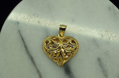 Fancy Puffed Heart - 14K YELLOW GOLD FANCY HALF PUFFED FILIGREE HEART PENDANT CHARM #X14-2012
