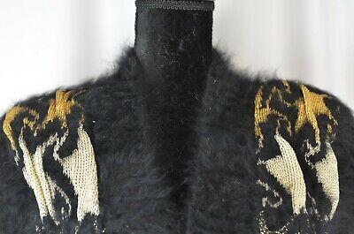 Iris Von Arnim Women's Fuzzy V-Neck Sweater Size Small Angora Wool Stars Boho