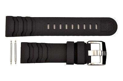 Carbon Seal - Luminox Carbon Seal 3800 Series 24mm Dark Gray Watch Band Strap Rubber w/2 Pins