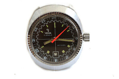 Rare Vintage Yema 24 Hour Rally Racing Dial Diver's Diving Watch Fluted Bezel