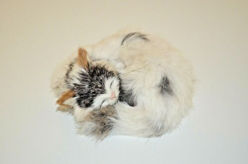 "A Faux Fur Covered Sleeping Kitten, Approximately 5"" Long"