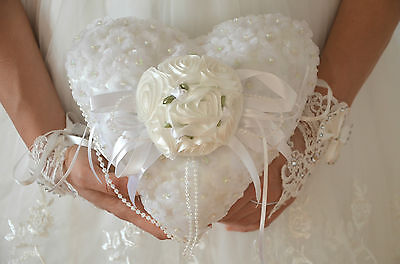 Ringkissen Herzform Ringschatulle Kissen für Eheringe Ringe Hochzeit Herz