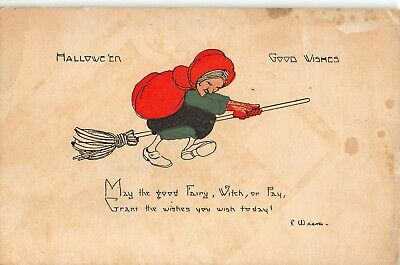 c.1915? Witch Flying on Broom Halloween Good Wishes post card - Halloween Well Wishes