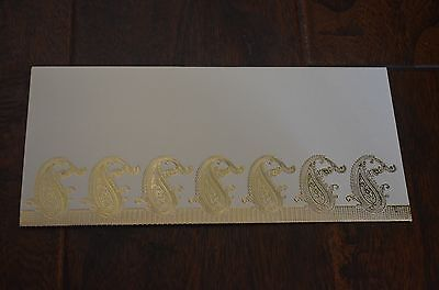 Cream And Gold Paisley Money Holder Letter Envelopes 10 Pieces