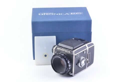 MINT- BOXED BRONICA EC BODY w/75mm F2.8 P.C LENS, 6x6 BACK, DS, MANUAL, NICE!!!