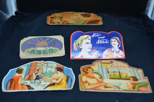 5 Vtg Mid Century Sewing Needle Cards-ASCO,Our Pet(SECO),Sew&Stitch,Fashion ++