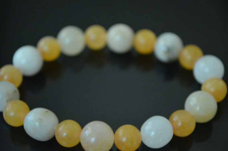 Lemon & White Jade Beaded Healing Protection Bracelet Gift Holiday