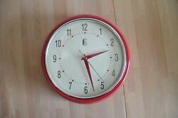 Geneva Clock Co. Quartz Wall Clock Red With Silver Trim 9.5