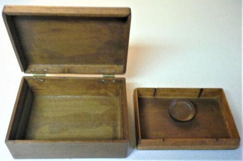 Vintage Oak Wood Writing Postcard Stationery Box w/ wood inkwell?