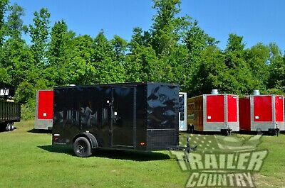 New 6x12 6 X 12 V-nose Enclosed Cargo Trailer W Ramp Black Out Package