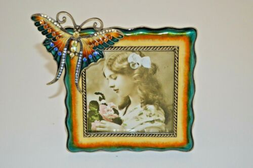 Enameled Square Metal Picture Frame with Butterfly & Facet Cut Crystal Decor