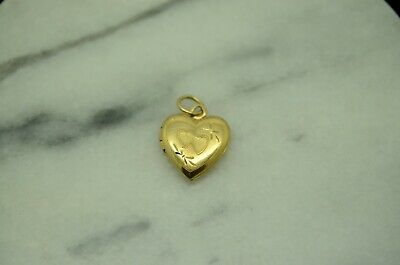 14K YELLOW GOLD HEART SHAPED LOCKET PENDANT CHARM -SMALL #X14-2396 14k Gold Heart Shaped Locket