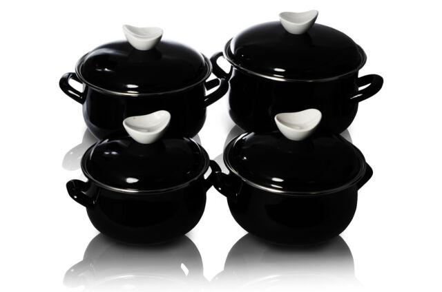 Enamel Cookware Set Casserole Pots Lid 8 Pcs Soup Stockpot Black Style Pot Pan