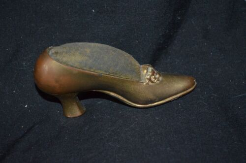 Antique Victorian Shoe High Heel Metal Pin Cushion