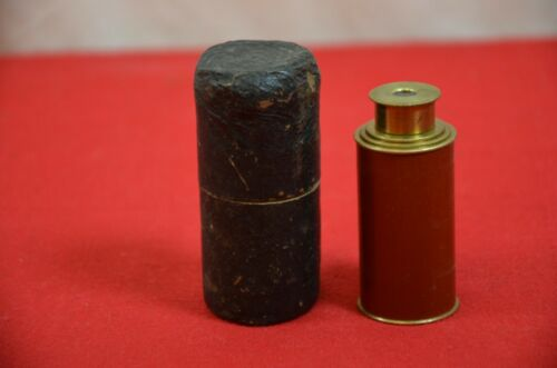 Antique Brass Leather Telescope Ship Spyglass Scope w/Case Telescopic Vtg #1783