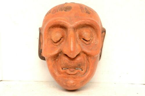 """AZTEC MAYAN WARRIOR POTTERY FACE MASK TERRACOTTA CLAY ART 11.5"""" South american"""