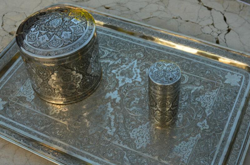 ANTIQUE QAJAR RASHT PERSIAN SOLID SILVER TEA CADDY