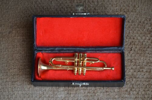 vintage trumpet Miniature Musical Instrument Replica Velvet Lined Case