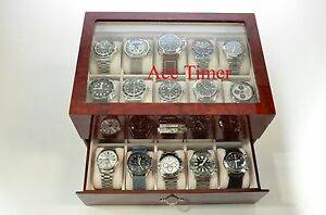 20-watch-Glass-Top-Burlwood-Display-Storage-Case-Box-Free-Polishing-Cloth