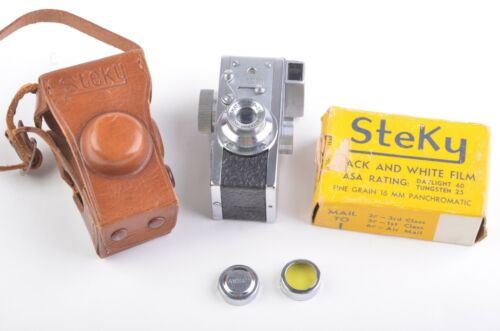 EXC++ STEKY MODEL III SUBMINIATURE CAMERA, CASE, FILTER, CAP, WORKS GREAT!