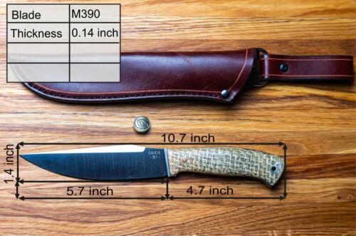 "G.Dedyukhin Fixed REAL Hunting Knife ""Wolf"" M390 Handmade in Bark River Style"