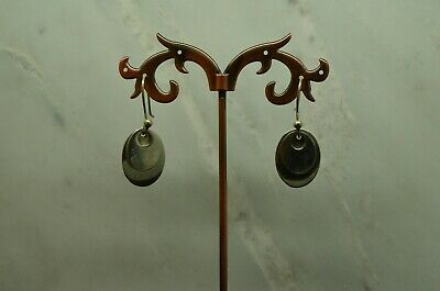 925 STERLING SILVER SHINY SIMPLE LAYERED OVALS FISH HOOK EARRINGS #X25793