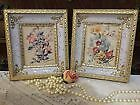 "1 Vintage Shadow Box Framed Wildflower Prints 7""x 8"" Wall Art MC"