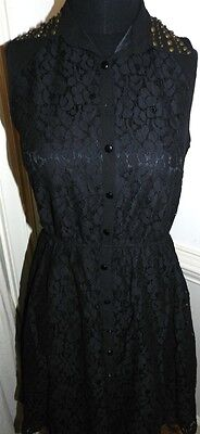 Dress Black Lace Little Mistress Metallic Stud Collar Misses size 6 New - Mistress Metal