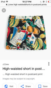 NWT J  Crew High-Waisted Short in Postcard Print Size 2