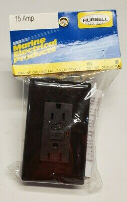 Hubbell Gfr5252ma 15amp Marine Ground Fault Receptacle New Brown Free Shipping