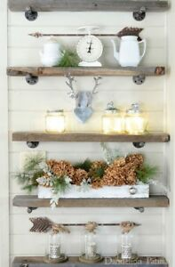 BARNBOARD SHELVING WITH PIPE BRACKETS