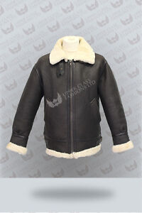 Mens-Aviator-B3-RAF-Cream-Real-Shearling-Sheepskin-Leather-Bomber-Flying-Jacket