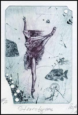 Hujber Gunter 2009 Exlibris C2 Project Erotic Nude Woman Fish g12 - Fish Art Projects