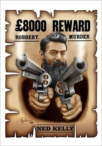 Details about NED KELLY WANTED POSTER AUSSIE LEGEND