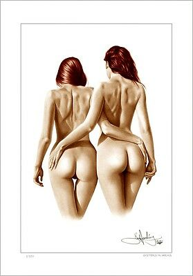 NUDE FEMALE  STUDY  ' SISTERS IN ARMS '     DRAWING          LIMITED EDITION