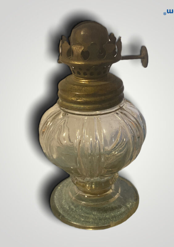 Vintage Footed Glass Mini Oil Lamp 4 Inches Tall