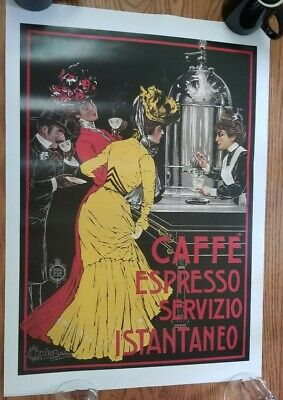 Cafe Espresso Vintage Italian Coffee Poster print Canvas Giclee 27.5x19.5 art